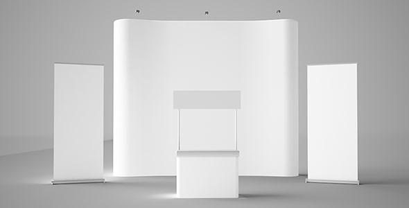 تصویر رندر 3D استند و عناصر نمایشگاهی