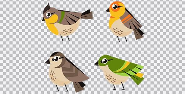 تصویر PNG طراحی فلت مجموعه پرنده سینه سرخ