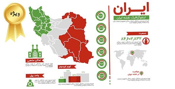 وکتور اینفوگرافیک فارسی نقشه ایران