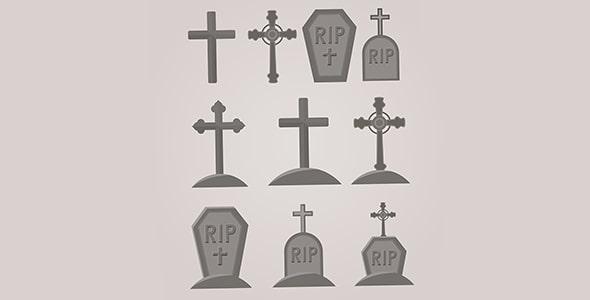 وکتور مجموعه سنگ قبر با طرح صلیب