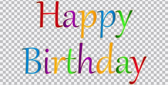 تصویر PNG متن happy birthday رنگی