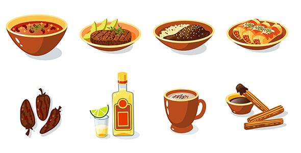 فایل لایه باز مجموعه آیکون غذای مکزیکی