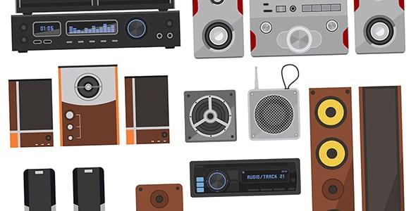 وکتور مجموعه سیستم پخش موزیک