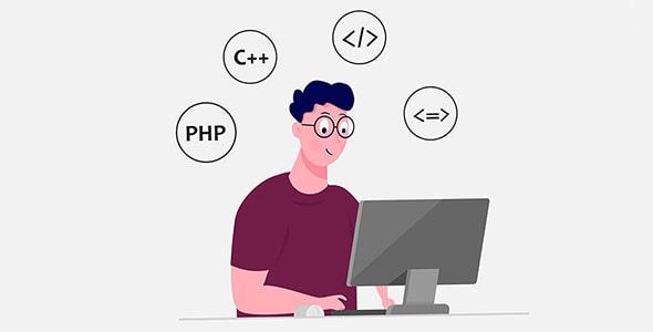 وکتور کاراکتر برنامه نویس و کار با کامپیوتر