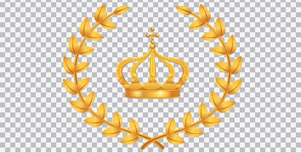 تصویر PNG تاج پادشاهی و خوشه گندم