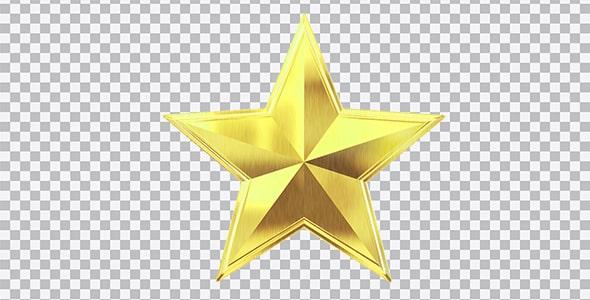 تصویر PNG ستاره طلایی براق فلزی