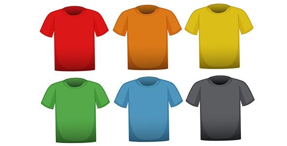 فایل لایه باز مجموعه تی شرت در 6 رنگ